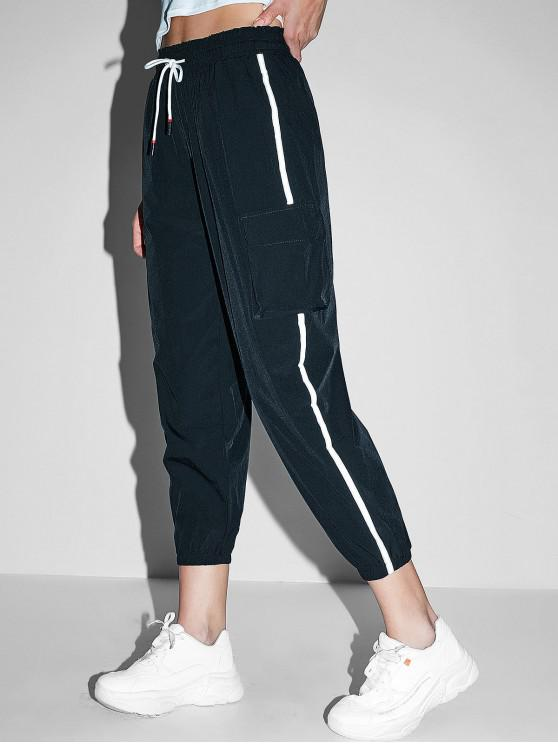 best Reflective Side Drawstring High Waisted Jogger Pants - BLACK L