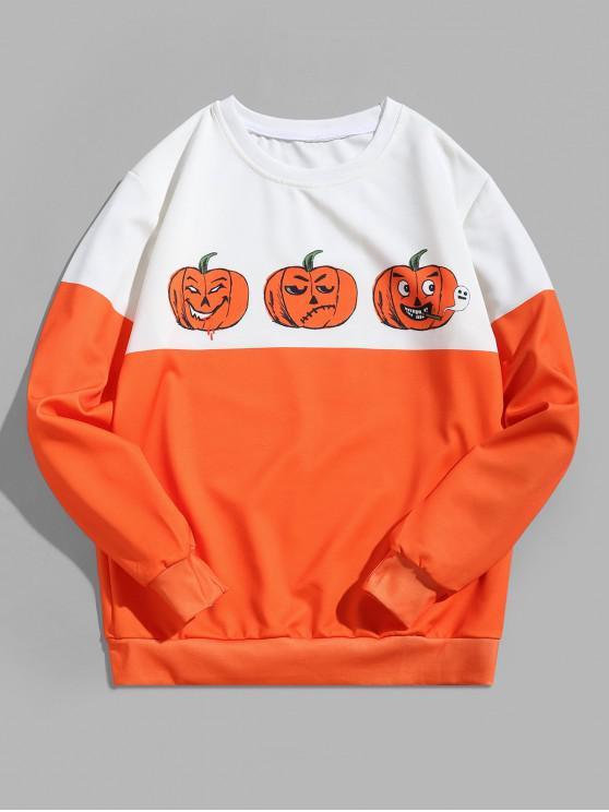 Sudadera de dos tonos con estampado de calabaza divertida de Halloween - Blanco L