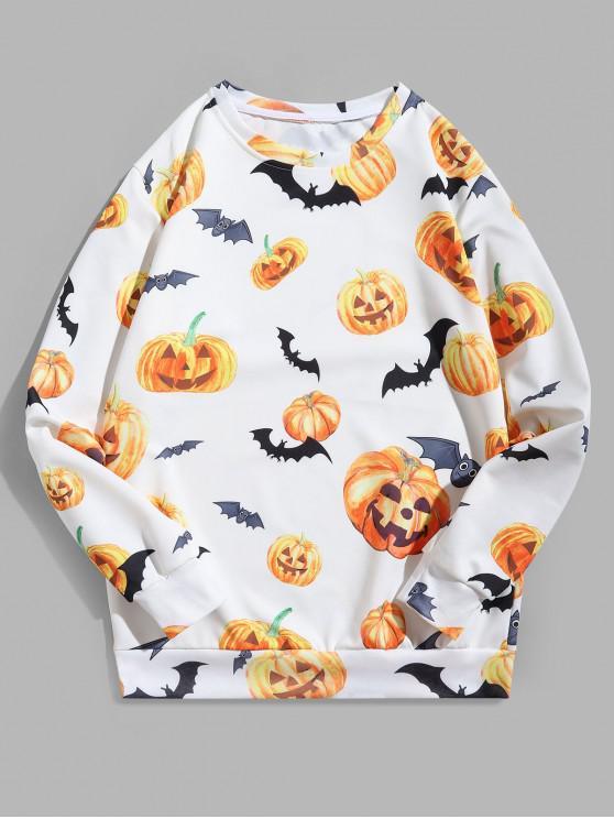 best Halloween Funny Pumpkin Bat Print Sweatshirt - WHITE 3XL