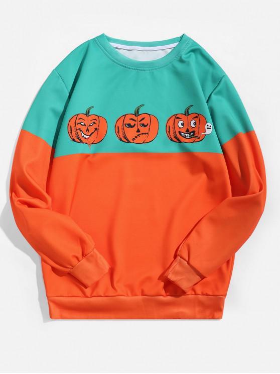 outfit Halloween Funny Pumpkin Print Two Tone Sweatshirt - MANGO ORANGE XL