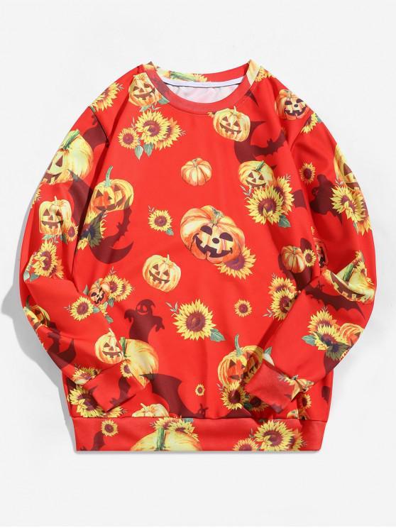 fashion Halloween Pumpkin Sunflower Print Pullover Sweatshirt - RUBY RED 2XL