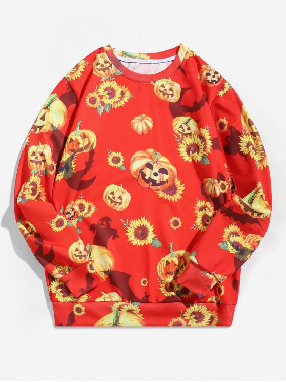 shop Halloween Pumpkin Sunflower Print Pullover Sweatshirt - RUBY RED M