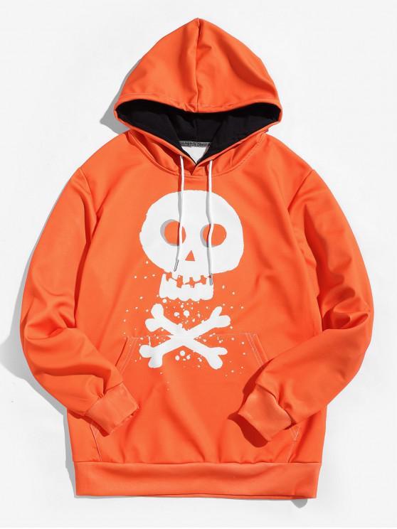 trendy Halloween Cross Bone Skull Letter Print Kangaroo Pocket Hoodie - MANGO ORANGE L