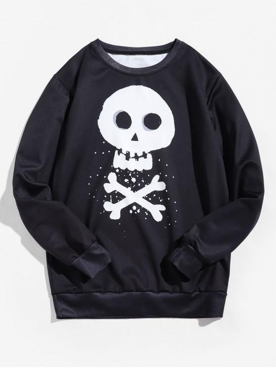 fashion Halloween Cross Bone Skull Letter Graphic Pullover Sweatshirt - BLACK XL