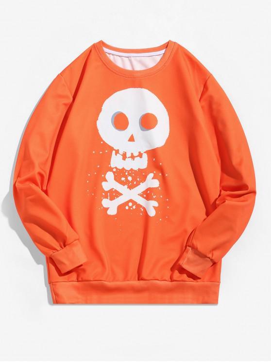 womens Halloween Cross Bone Skull Letter Graphic Pullover Sweatshirt - MANGO ORANGE 2XL