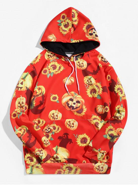 hot Halloween Bat Pumpkin Sunflower Print Pullover Hoodie - RUBY RED 2XL