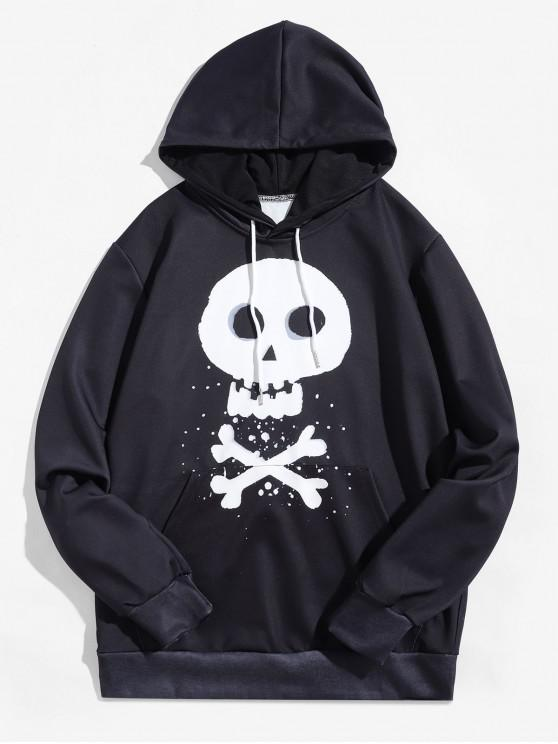 Halloween Cross Bone Skull Letter Print Kangaroo Pocket Sudadera con capucha - Negro L