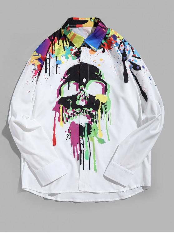 chic Halloween Skull Painting Splatter Print Button Casual Shirt - WHITE 2XL