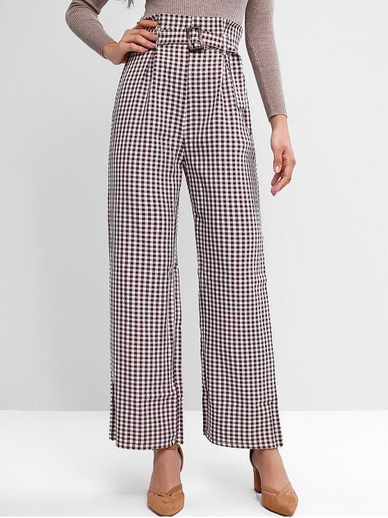Pantalones de pierna ancha con cinturón y cintura alta de guinga - Multicolor S