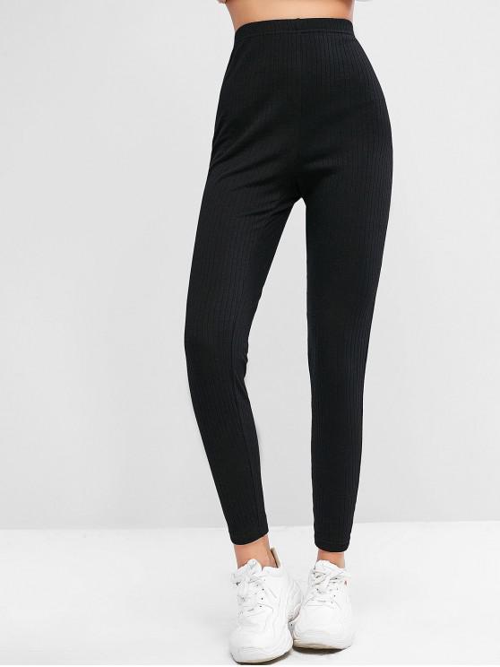 shop ZAFUL Ribbed High Waisted Stretchy Leggings - BLACK XL