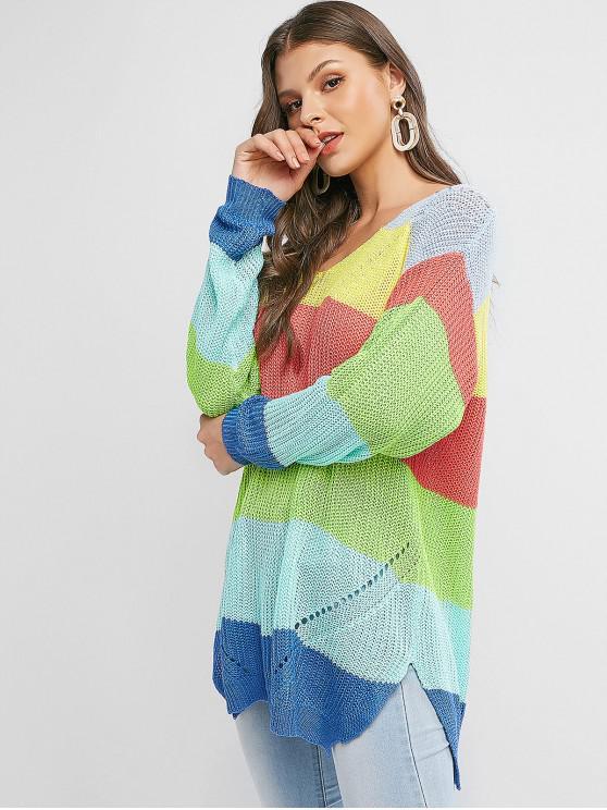 buy V Neck Color Block Stripes Slit Sweater - MULTI-A M