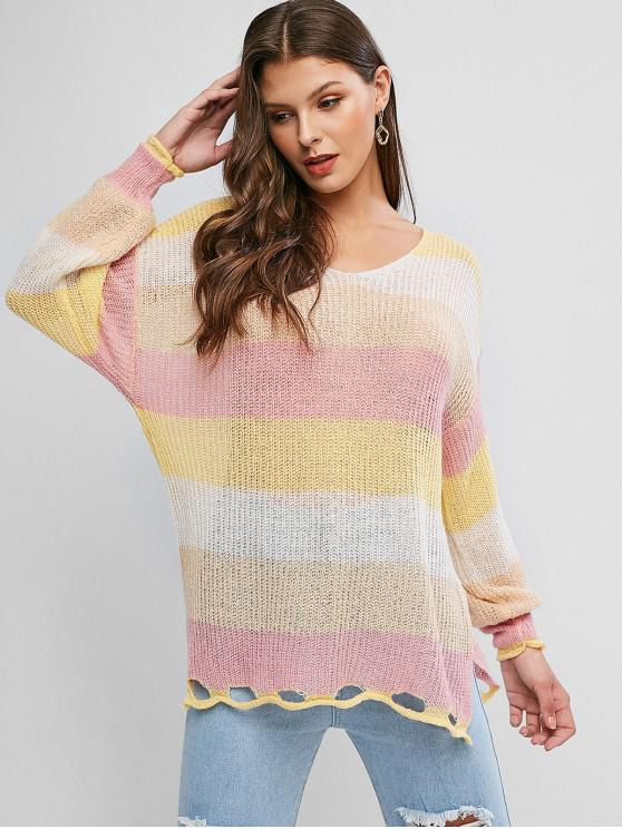chic Color Block Ripped Slit Tunic Sweater - MULTI-A ONE SIZE