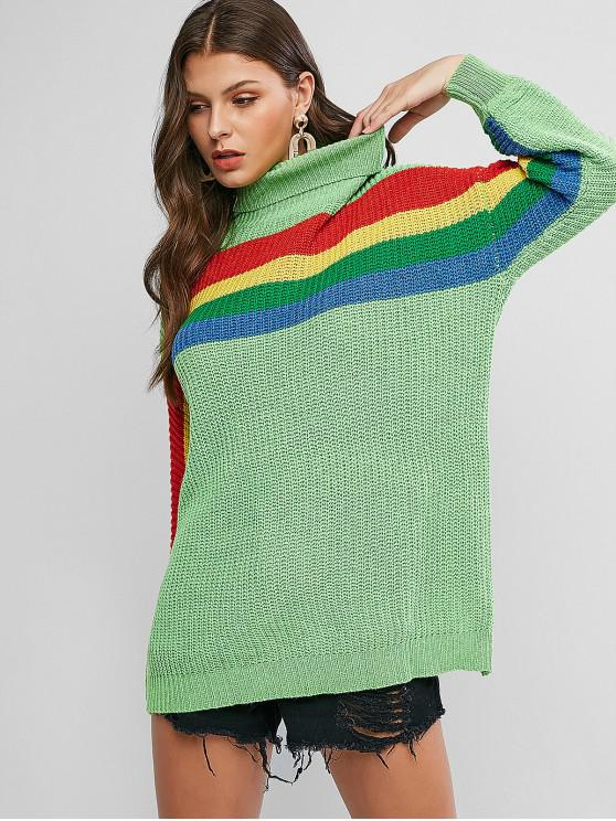 best Drop Shoulder Rainbow Stripes Turtleneck Sweater - YELLOW GREEN M