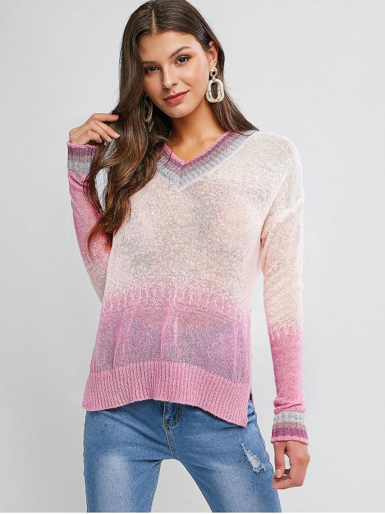 fashion Striped Trim V Neck Gradient Open Knit Sweater - MULTI-A ONE SIZE