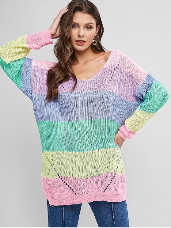 women V Neck Color Block Stripes Slit Sweater - MULTI-C XL