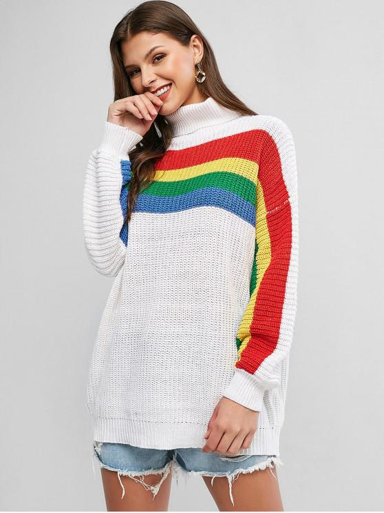 fashion Drop Shoulder Rainbow Stripes Turtleneck Sweater - MILK WHITE S