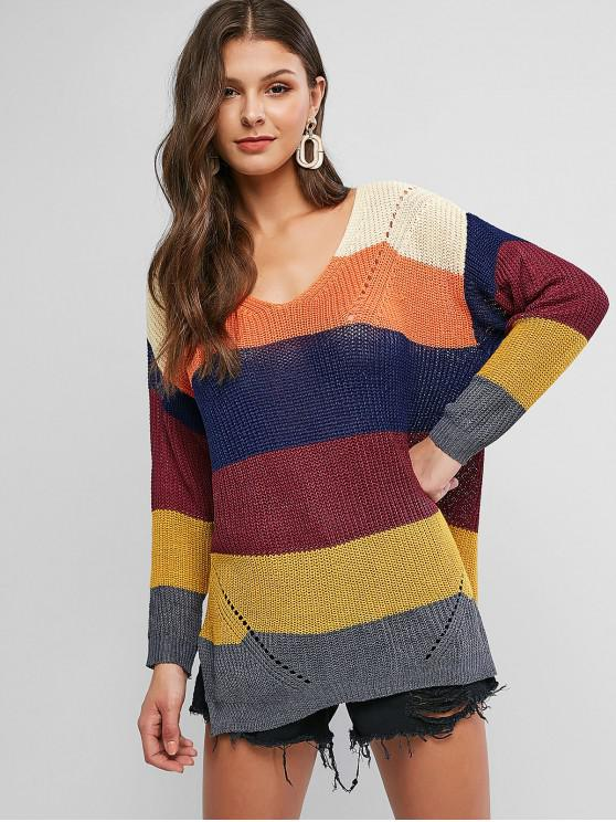 chic V Neck Color Block Stripes Slit Sweater - MULTI-B XL