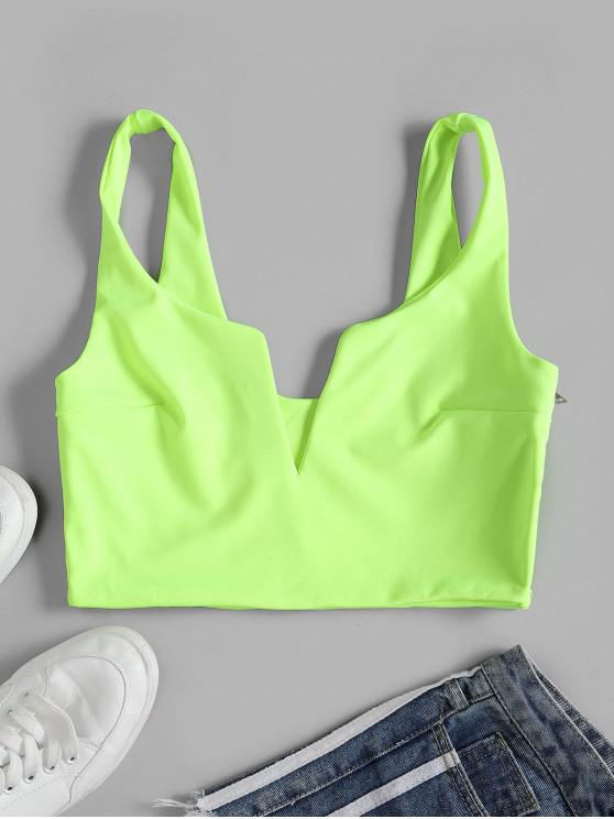 womens V Wire Crop Notched Tank Top - GREEN M