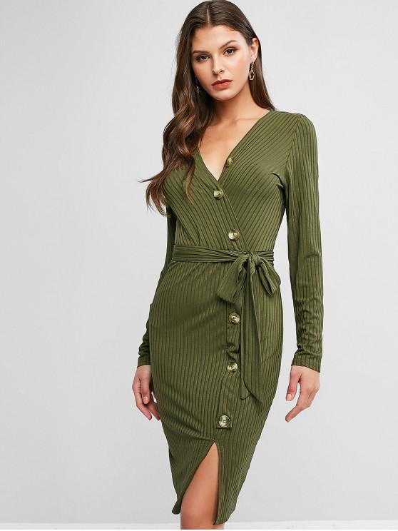 affordable Plunge Surplice Belted Buttoned Bodycon Dress - DARK GREEN M