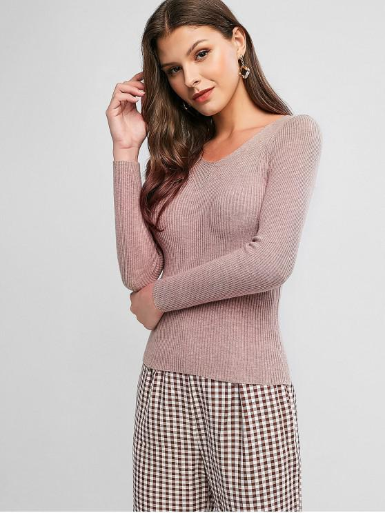 shop Pullover Slim V Neck Sweater - KHAKI ONE SIZE