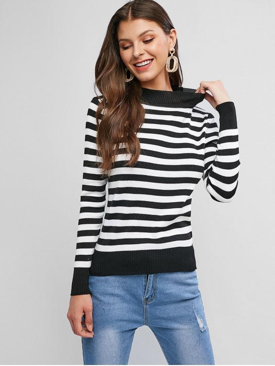 women's Striped Mock Neck Ribbed Hem Sweater - MULTI-A ONE SIZE