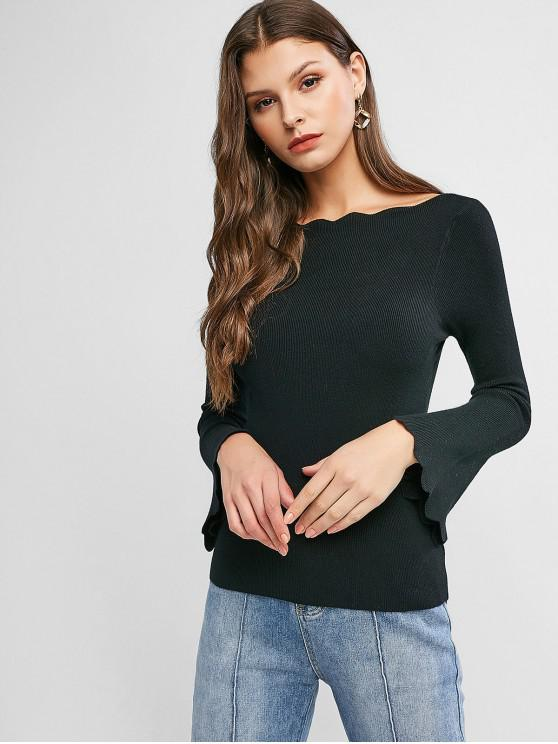 affordable Scalloped Flare Sleeve Boat Neck Slim Sweater - BLACK ONE SIZE
