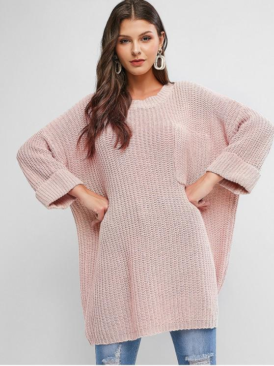 new Cuffed Front Pocket Oversized Pullover Sweater - PIG PINK ONE SIZE