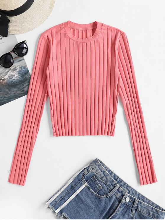 women Crew Neck Ribbed Plain Long Sleeve Tee - FLAMINGO PINK S