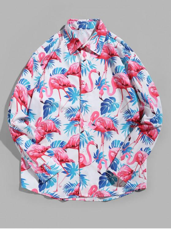 sale Flamingo Tropical Leaf Print Curved Hem Vacation Shirt - MULTI S