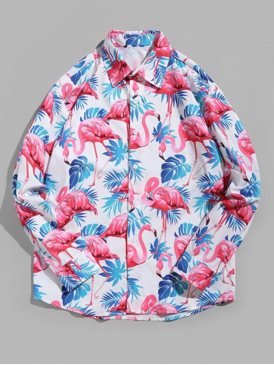 fashion Flamingo Tropical Leaf Print Curved Hem Vacation Shirt - MULTI L