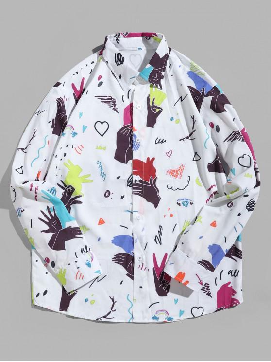 shop Shadow Hand Animal Heart Graphic Print Long Sleeve Shirt - WHITE 2XL