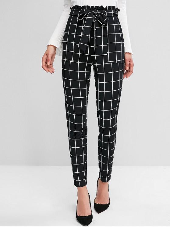 ZAFUL Plaid Pocket Pencil Paperbag Pants - Nero M