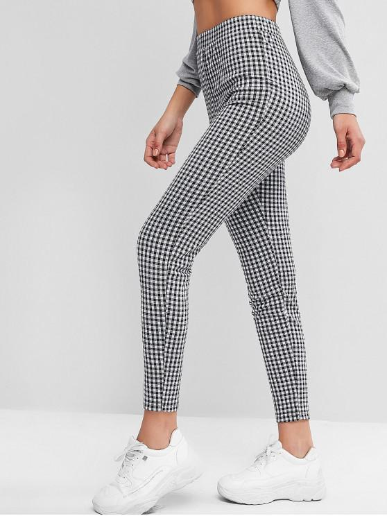 outfits ZAFUL Plaid High Waisted Skinny Leggings - MULTI-A L