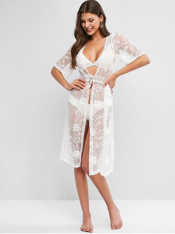 women Tied Floral Lace See Through Cover Up - WHITE ONE SIZE