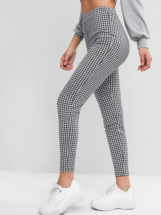 women's ZAFUL Plaid High Waisted Skinny Leggings - MULTI-A S