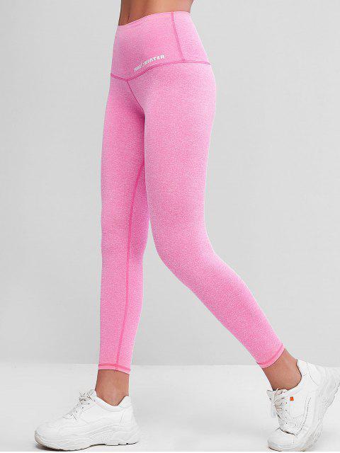 ladies Active Heathered 7/8 Leggings - ROSE RED M Mobile