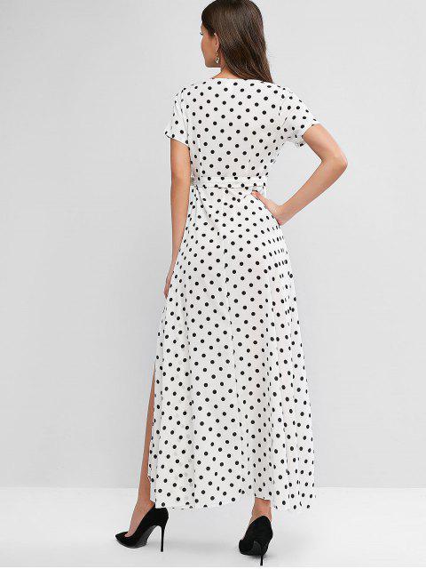 Maxi Robe Superposée Ceinturée à Pois - Blanc L Mobile