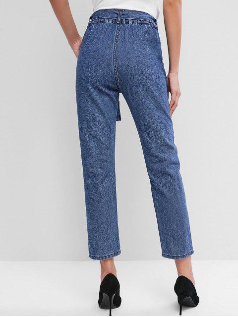 ladies High Waisted Pocket Belted Pencil Jeans - DENIM BLUE S Mobile