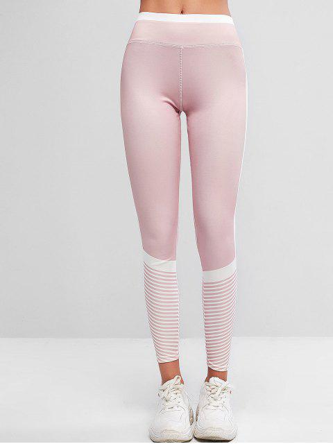 new Pull On Stripes Color Block Sports Leggings - LIGHT PINK XL Mobile