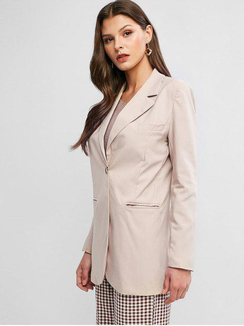 sale Lapel One Button Slit Back Pocket Tunic Blazer - LIGHT KHAKI M Mobile