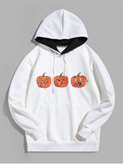 מצחיק דלעת הדפס Halloween קנגורו Pocket קפוצ'ון המקרי - לבן 4XL Mobile