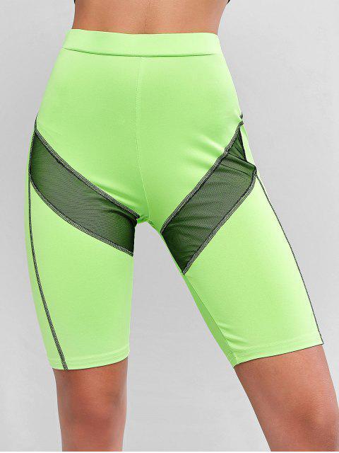 Shorts de motociclista de malla con costuras de neón - Verde M Mobile