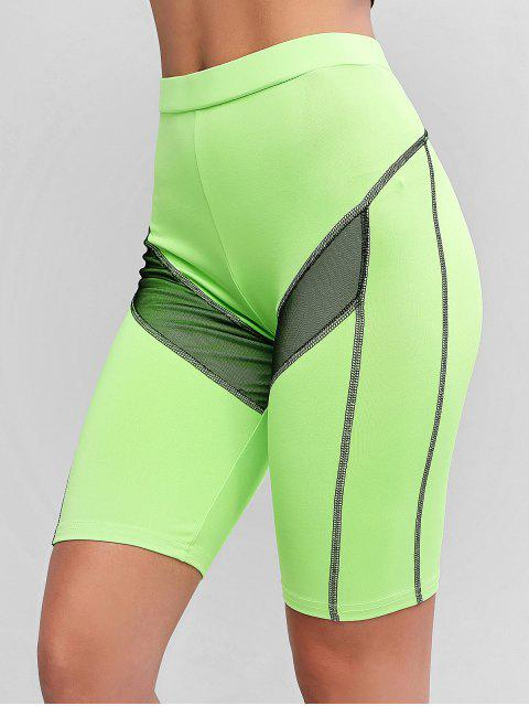 shop Neon Stitching Mesh Insert Biker Shorts - GREEN L Mobile