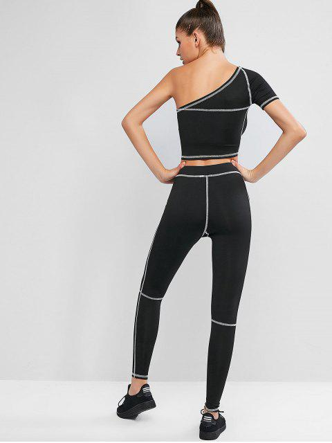 latest Topstitching One Shoulder High Waisted Leggings Set - BLACK M Mobile
