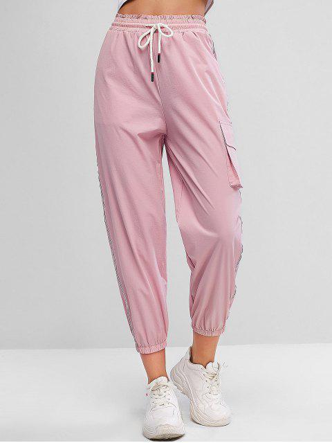 Pantalones de chándal de cintura alta con cordón lateral reflectante - Rosado S Mobile