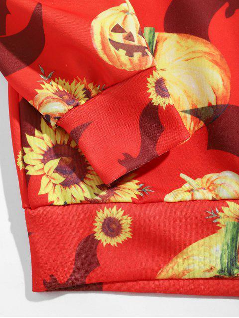 טרנינג הדפס ליל כל הקדושים דלעת חמניות סוודר - רובי אדום XL Mobile