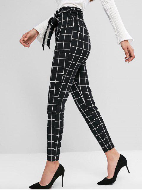 Pantalones ZAFUL tela escocesa del bolsillo de lápiz paperbag - Negro M Mobile