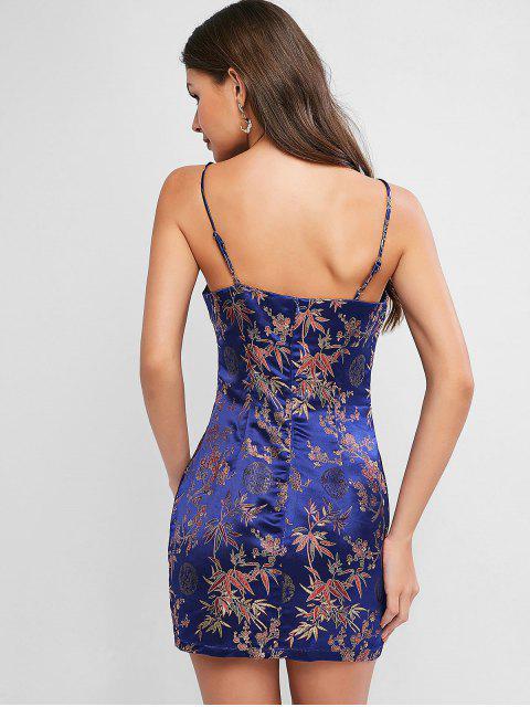 ZAFUL Robe Moulante à Bretelle Fleur en Satin en Jacquard - Bleu Lapis XL Mobile