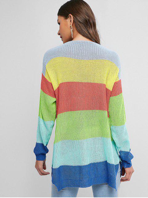 shop V Neck Color Block Stripes Slit Sweater - MULTI-A L Mobile