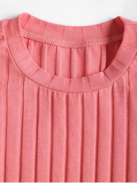 women Crew Neck Ribbed Plain Long Sleeve Tee - FLAMINGO PINK S Mobile